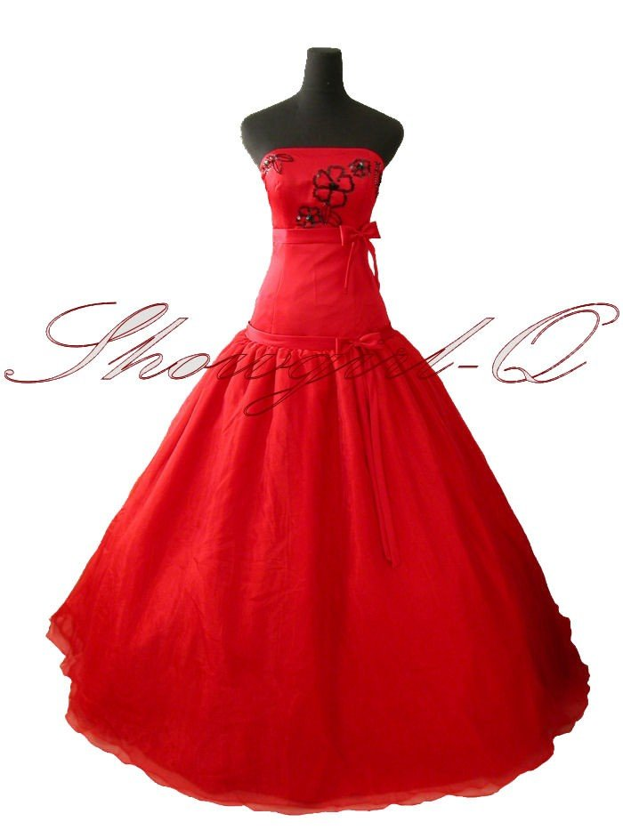 RED EVENING DRESS BALL PROM BALL GOWN WEDDING