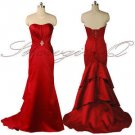 5376 Red ruched satin Evening Prom Bridesmaids Dress UK 8 - 20