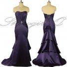 5376 Aubergine Purple Soft Sweetheart Evening Prom Bridesmaids Dress UK 8 - 20