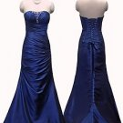 5466 Blue Ruching Prom Graduation Ball Gown Formal event strapless UK 8-20