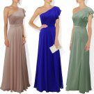 Maids one shoulder floor length bridesmaid cruise dress evening wear