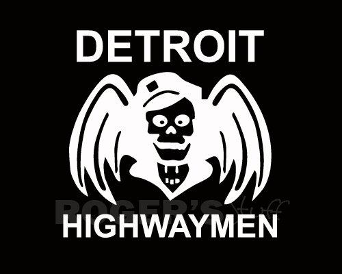 White Vinyl Detroit Highwaymen Decal Sticker