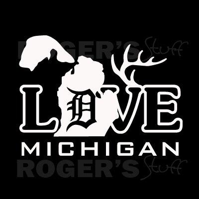 White Vinyl Love Detroit Michigan Decal Sticker