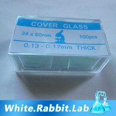 100 pcs Microscope Rectangle Cover Glass Slip 24*50 mm