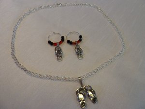 Flip Flop Necklace and Earrings