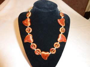 Chunky Brown Hearts and Circles Necklace