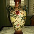 Antique Appraised Japanese ceramic hand painted vase with makers mark and gild