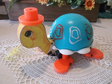 Vintage 1962 Fisher Price Tip Toe Turtle Pull Toy All Original VGUC