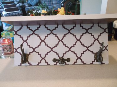 Primitive Handmade Moroccan Wall Shelf with Antiqued Hooks & Knob Plum and White