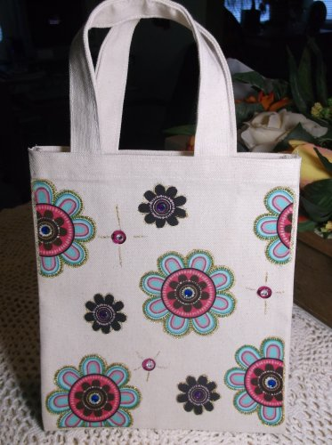 Handmade Child's Canvas Tote Bag with Flowers & Jewels NEW