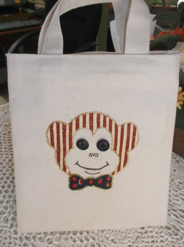 Child's Handmade Monkey Tote Bag with buttons & Jewels New