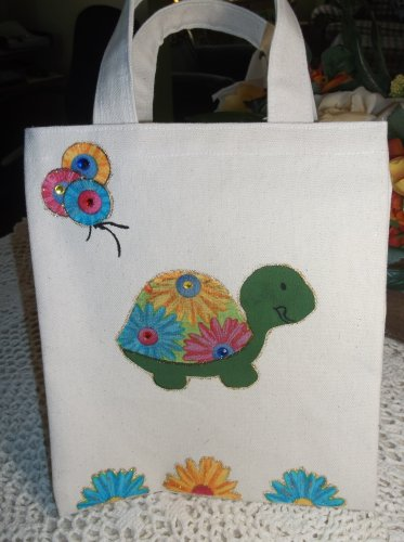 Handmade Childs tote bag with Turtle ,Balloons, & Jewels NEW