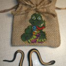 Jute Drawstring Snake Bag with Rubber Snake Toy