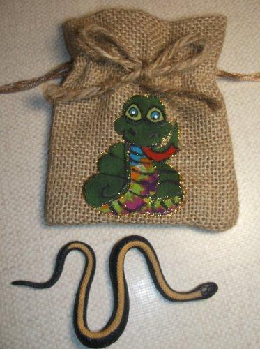 Jute Drawstring Snake Bag with Rubber Snake Toy