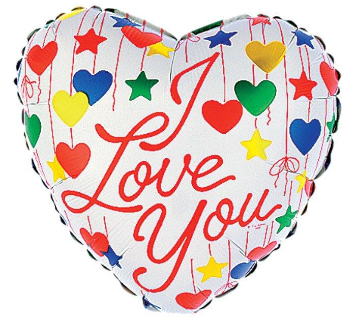 I Love You Dangling Hearts and Stars Balloon 18 Inch Mylar