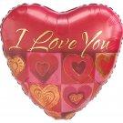 I Love You Vintage Hearts Balloon 18 Inch Mylar