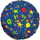 Happy Anniversary Blue Swirls Balloon 18 Inch Mylar
