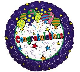 Congratulations Stars and Streamers Balloon 18 Inch Foil