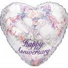 Happy Anniversary Bells Heart Balloon 18 Inch Mylar