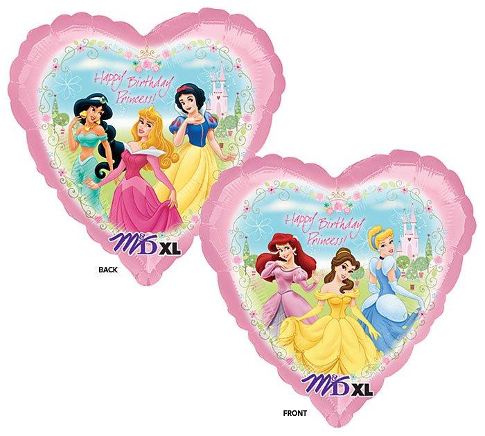 Disney Princess Happy Birthday 18 Inch Heart Shaped Mylar Balloon