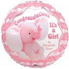 Congratulations Its a Girl Elephant 18 Inch Mylar Balloon