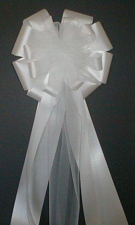 WHITE Floral Satin Florist Ready Wedding Pew Bows