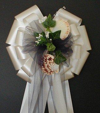 SEASHELLS (Beach) Ivory Navy Blue Tulle Pew Bows - Wedding Decoration