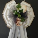 SEASHELLS (Beach) Ivory Navy Blue Tulle Pew Bows - Wedding Decoration