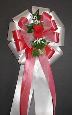 WHITE/RED Rose Pew Bows - Wedding Decorations