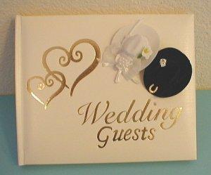 WESTERN Wedding Cowboy Hats w/Gold Hearts Guest Book