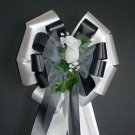 BLACK and WHITE Ribbon w//WHITE Rose Pew Bows - Wedding Decorations