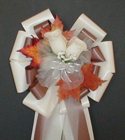 IVORY/CHOCOLATE Fall Pew Bows - Wedding