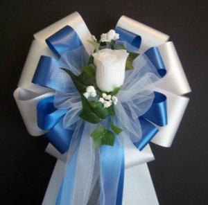 ROYAL BLUE and WHITE w/White Rose Bud - Wedding Decorations