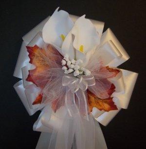 WHITE CALLA LILY/Fall Autumn Pew Bows - Wedding Decoration