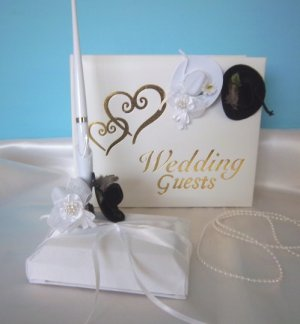 WESTERN Cowboy Peacock Feather Hats/Gold Hearts Guest Book and Pen Set Wedding