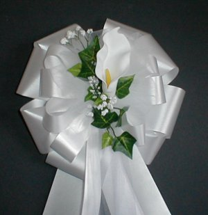 WHITE Calla Lily Pew Bows - Wedding Decorations