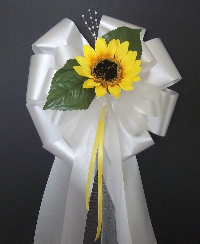 SUNFLOWER w/Leaves Pew Bows - Wedding Decorations