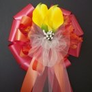 RED & ORANGE w/Yellow Calla Lily/Fall Autumn Pew Bows - Wedding