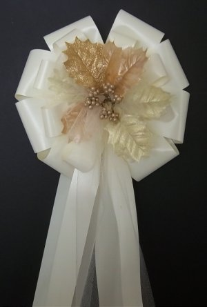 6 IVORY/Christmas Tan/Gold/Cream Leafs/Leaves Pew Bows - Wedding Decorations