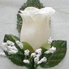 IVORY Silk Rose Boutonniere/Boutineers - Wedding -