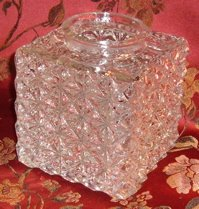 Vintage Square Lighting Globe, Fabulous Pattern Pressed Glass