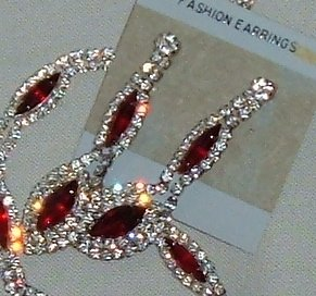 Vintage Circa 1980s Rhinestone Demi Ruby Red Necklace Earrings