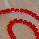 Vintage Red Bohemian Glass Necklace Tile Beads Circa 1970s