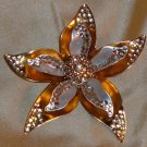 Vintage Avon Brooch Flower With Petals and Amber Rhinestones