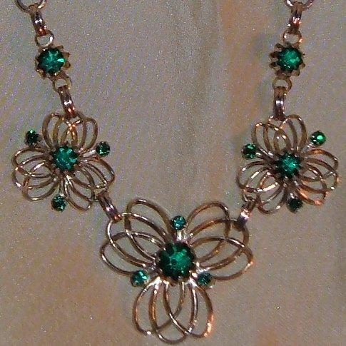 Vintage Floral Design Necklace Green Rhinestones Circa 1970s