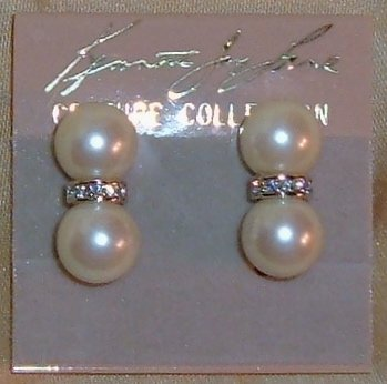 Vintage Kenneth Jay Lane Couture Pearl Earrings with Rhinestones