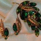 Vintage Demi Parure Brooch Earrings With Green Rhinestones, Grape Clusters