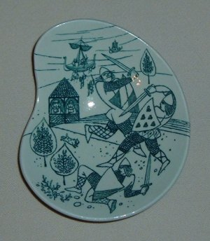 Nymolle Porcelain Denmark Art Faience Side Dish - A Scene With Knights
