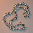 "Vintage Cloisonne Bead Necklace Knotted Strand 25"" 12mm"