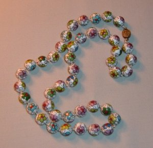 """Vintage Cloisonne Bead Necklace Knotted Strand 25"""" 12mm"""